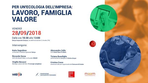 Al Vetrya Corporate Campus il 28 settembre per discutere di lavoro, famiglia e valore